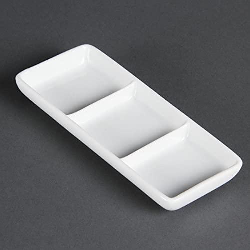 Olympia Whiteware Plats Carrés 3 Sections en Porcelaine Blanche - Bols de Service Super Vitrifiés - Va au Lave Vaisselle - Paquet de 12