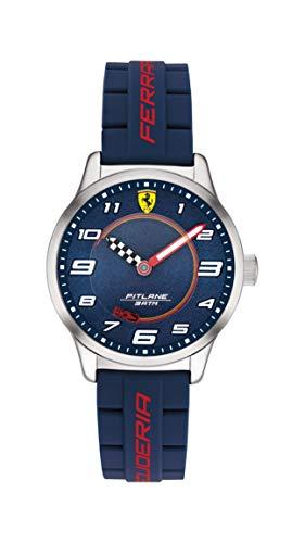 Scuderia Ferrari Kids' Pitlane Stainless Steel Quartz Watch with Silicone Strap, Blue, 16 (Model: 0860015)