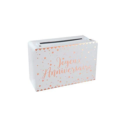 Santex 5671-20 - Hucha pequeña para maleta de cumpleaños (metal), color rosa dorado