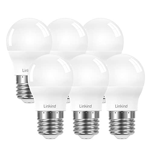 Linkind sostituisce lampada LED da 60W, lampadina bianca fredda da 860lm 7,5W 5000K, angolo del fascio di 220 °, non dimmerabile, ErP, certificata CE, lampadina LED AC 220-240V G45, confezione da 6