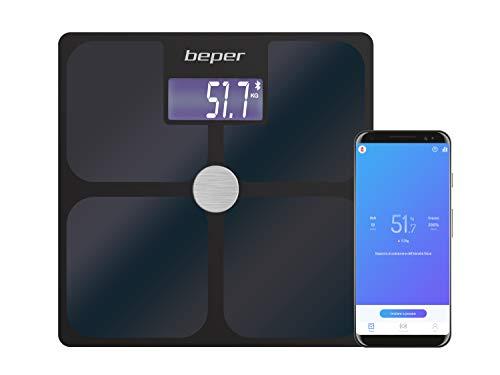 BEPER Báscula de baño de impedancia con aplicación, Vidrio Templado, Negro, Mediano