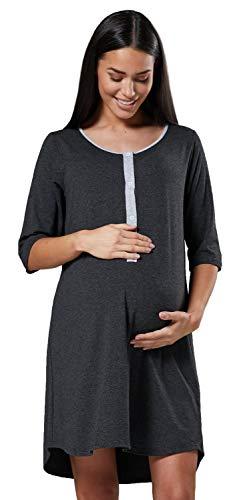 HAPPY MAMA Damen Geburtskleid Krankenhaus Umstands Nachthemd Stillfunktion. 539p (Graphit Melange, 40-42, L)