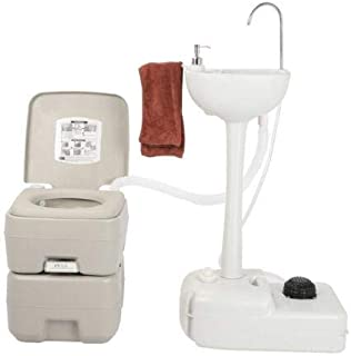 USAStock Upgraded Portable Sink and Toilet Combo| Self-contained 5 Gal Hand Washing Station & 5.3 Gal Flushing Toilet, Perfect for Camping/RV/Boat/Road Tripper/Camper, Detachable & Lightweight