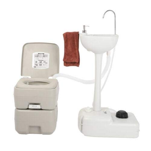 USAStock Upgraded Portable Sink and Toilet Combo| Self-contained 5 Gal Hand Washing Station & 5.3 Gal Flushing Toilet, Perfect for Camping/RV/Boat/Road