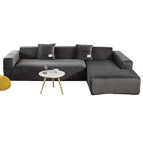 LZstrong Plüsch Stilvolle Sofa Schonbezug, High Stretch Samt Sofabezug, Stretch Möbelschutz, Strapazierfähiges Plüsch Dickes Material (Grey,2-Seater Loveseat)