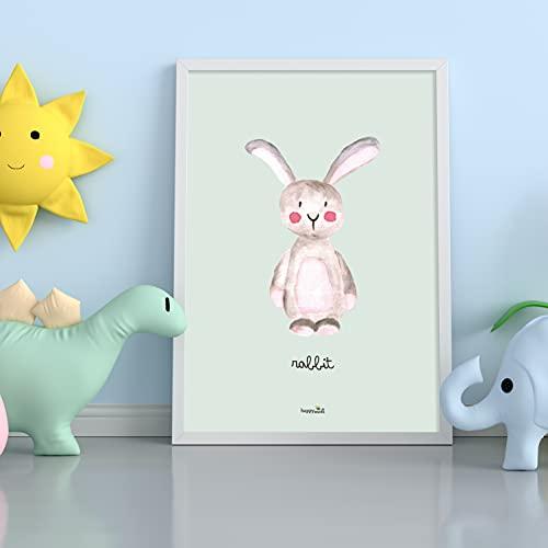 Happymots - Cuadros de animales - Juego de 4 Láminas Infantiles ideales para decorar...