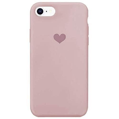 Für iPhone 7 Hülle Silikon Schutzhülle Handyhülle für iPhone 8 Silikonhülle für iPhone SE 2020 Herz Motiv schutzschale Hüllen Tasche Handytasche Weiche (Sandrosa, iPhone 7/iPhone 8/iPhone SE 2020)