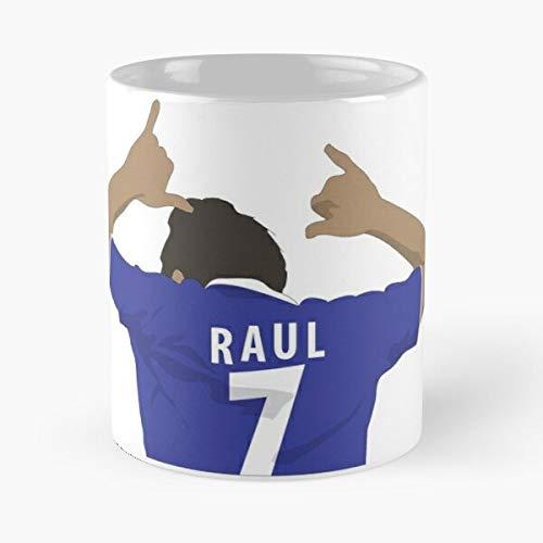 Legend Raulista Schalke Raúl Soccer González Player Fútbol Celebración Mejor 11oz Taza de café de cerámica Personalizar