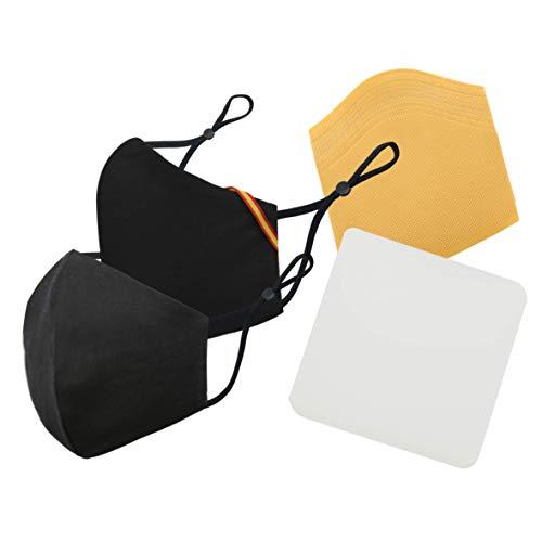 PHAMASK Cussi - Mascarilla de Tela Higiénica Reutilizable Homologada UNE 0065:20 y Certificada BFE 99%, Lavable hasta 20 ciclos-pack 2 mascarillas, estuche, filtros extra (BANDERA, NEGRO)