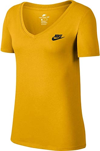 NIKE W NSW tee Vneck LBR - Camiseta, Mujer, Multicolor(Yellow Ochre/Black)
