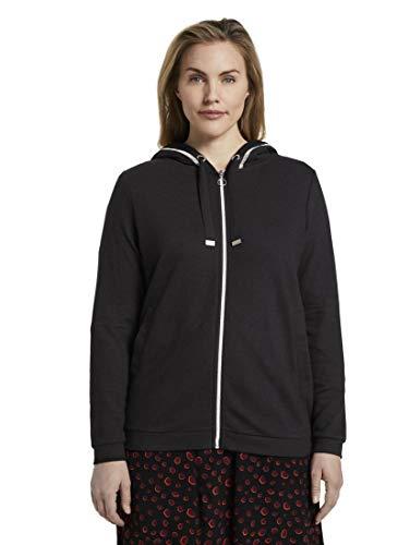 TOM TAILOR MY TRUE ME Damen Strick & Sweatshirts Sweatjacke mit Strukturstoff Deep Black,44