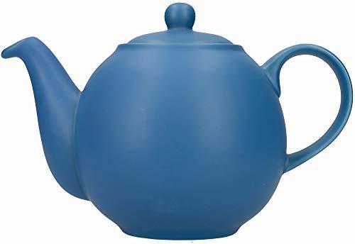 London Pottery Globe Tetera con colador en caja de regalo, ceramica, azul nordico, 4 tazas (900 ml)