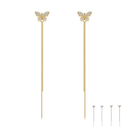 Guang Joyería de plata esterlina 925 para las mujeres pendientes lindos de la mariposa para la muchacha deslumbrante Zircon oro Color borla gota pendiente