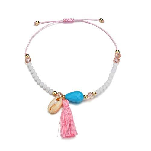 PLUS PO Anklet Anklet Bracelet Adjustable Shell Anklet Large Length Anklet Natural Shell Anklet Indian anklets Pink Anklet White Anklet Retro Anklet Pink
