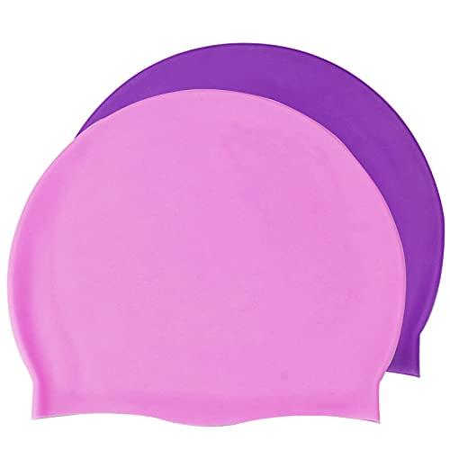 Bonnet de Natation,Bonnet de Bain en Silicone pour Adulte,Silicone Bonnet,Classic pour Enfants Natation,Les Cheveux Longs Bonnet de Bain Unisex,Chapeaux de Natation 3D Ergonomique-2pcs-Rose & Violet
