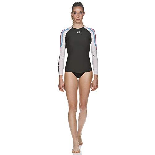 arena Damen Schwimm Kompressionsshirt Carbon Langarm (Atmungsaktiv, Carbon-Material, Durchblutungsfördernd), Dark Grey-White (53), M