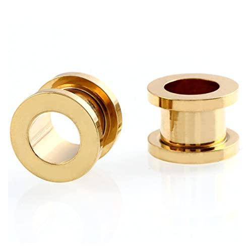 2 PCS / LOTE Tapones de acero y túneles Piercings Piercings Rose Oro Earring Pendiente Earlete Earlet Piercings Body Piercings Joyería 2mm-20mm ( Main Stone Color : 16mm , Metal color : Style3 Gold )