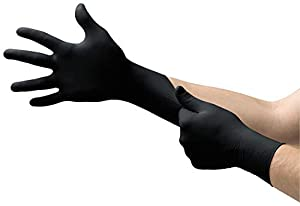 Microflex MK-296 Black Disposable Nitrile Gloves, Latex-Free, Powder-Free Glove for Mechanics, Automotive, Cleaning or Tattoo Applications, Medical/Exam Grade, Size Small, Box of 100 Units