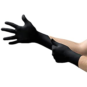 Corona Virus protection products Microflex MK-296 Black Disposable Nitrile Gloves, Latex-Free,