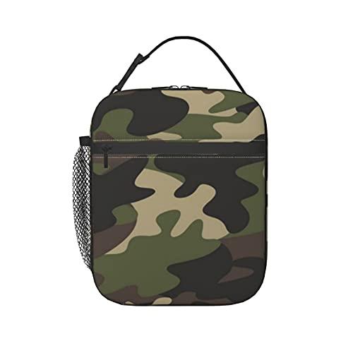 Borsa termica per il pranzo militare con motivo mimetico senza cuciture, per donne, borsa a tracolla congelabile, impermeabile, per picnic e scuola e ufficio