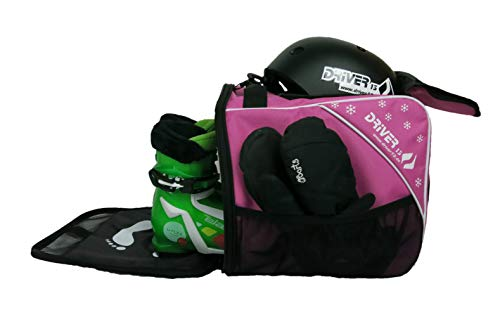 Driver13 Kinder Skischuhtasche Skistiefeltasche mit Helmfach für Hart Softboots Inliner und Bootbag Tasche pink