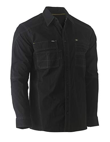 Bisley Workwear UKBS6144_BBLK Flex & Move - Camisa de trabajo (manga larga, talla XL), color negro
