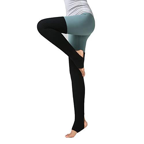 LOVARTS BEAUTY Damen Stulpen Frauen Yoga Socken Gestrickt Beinstulpen | Beinwärmer mit Fersenloch für Tanz,Pilates,Fitness (Schwarz)