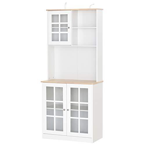 HOMCOM Armario de Cocina con Estantes y Puertas de Vidrio Pequeños Electrodomésticos y Menaje 80x37x183cm Blanco