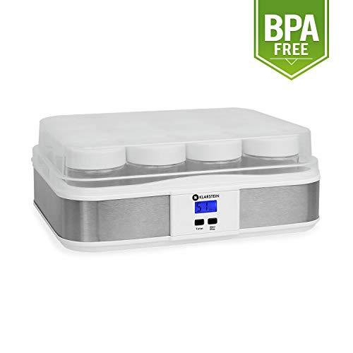 Klarstein Gaia yaourtière électrique 12 pots (préparation de yaourts maison, fromage frais, couvercle hermétique, jusqu'à 2,5L, cadre en inox, écran LCD) - blanc