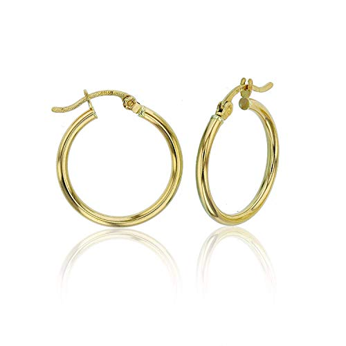 14k White Gold Solid Polished Round Hoop Earrings for Women | 2mm Thick | Classic Style | Round Hoop Earrings | Secure Click-Top | Shiny Polished Earrings for Girls, 2x15mm