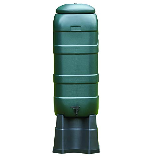 Oipps 100 Litre Plastic Green Mini Water Butt Kit with Tap Stand Rain Diverter
