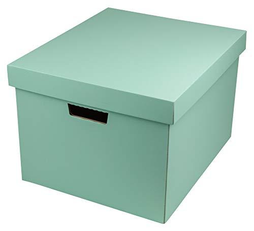 ヤマニパッケージ 収納BOX(L)(5枚入り) A4サイズ 【ミント】 フタ付き 段ボール オフィス 収納