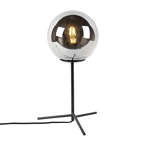 QAZQA Art Deco Art Deco Tischlampe schwarz mit Rauchglas 45,5 cm - Pallon/Innenbeleuchtung/Wohnzimmerlampe/Schlafzimmer/Stahl Kugel/Kugelförmig LED geeignet E27 Max. 1 x 40 Watt