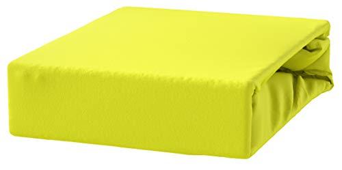 #6 Kinder Jersey Spannbettlaken, Spannbetttuch, Bettlaken, 70x160 cm, Zitronengelb