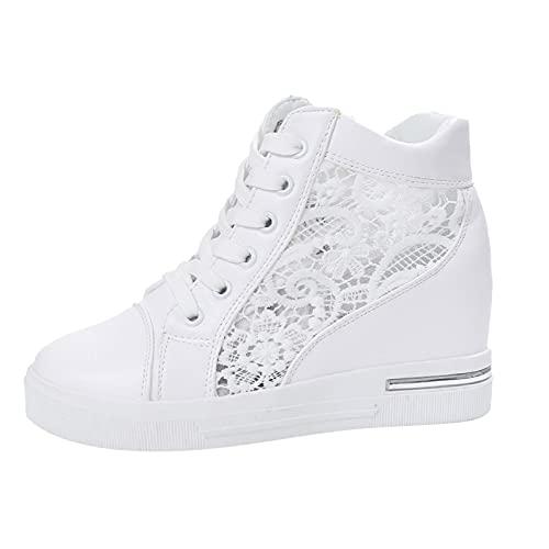 JDGY Sneakers met sleehak, zomerplateau-sneakers voor dames, met kanten naden aan de binnenkant, verhoogde casual ademende schoenen, outdoor-sportschoenen, wandelschoenen om te snoeren, platte gymschoenen