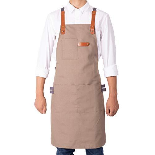 NEOVIVA Robuste Arbeitsschürze mit Taschen für Damen und Herren, Style Drew, Polyester Kunstleder, Indische Latte Tan, Für Erwachsene