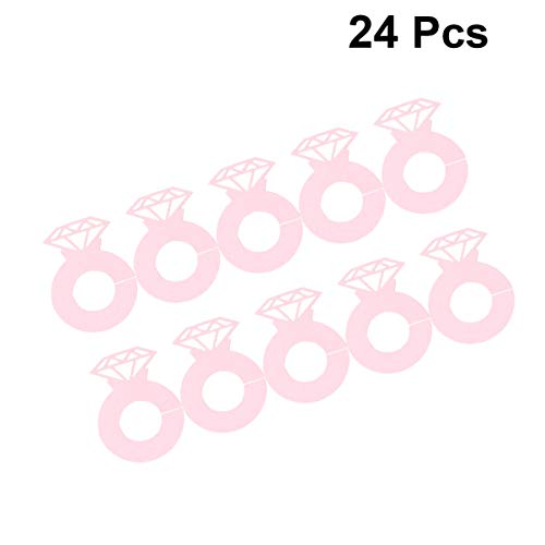 Amosfun 24 Diamant-Ring-Weinglas-Marker, Karton, Getränke-Charms für Cocktail, Champagner, Namensschilder für Hochzeit, Junggesellinnenabschied, Dekoration (Rosa) 6*4.2cm rose