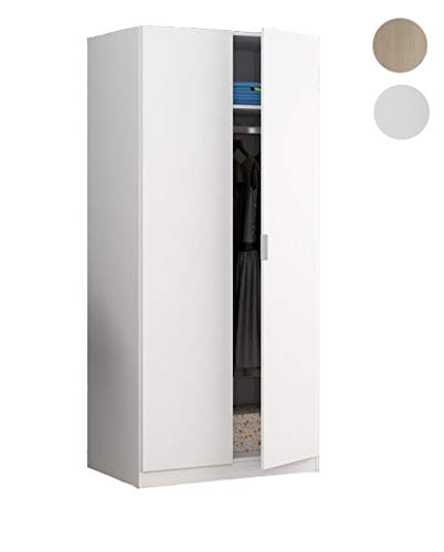 Habitdesign LCX022O - Armario Dos Puertas, Color Blanco Mate, Medidas: 180 x...