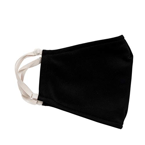 多機能マスク(洗えるマスク+高性能フィルター20枚)日本製UVカットふらは(L,無地ブラック))