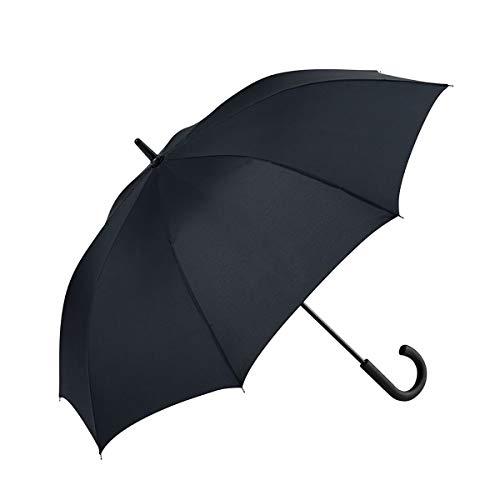 GOTTA Paraguas Largo de Hombre, antiviento y automático con puño Curvo de plástico. Tejido Liso. - Negro