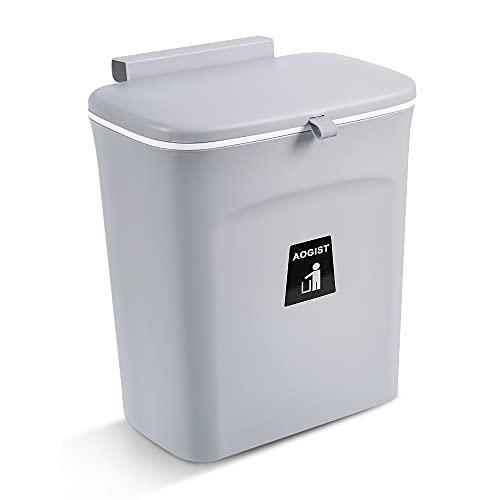 Aogist Waschbecken Mülleimer Abfallsammler für die Tür unter der Spüle Mülleimer zum Einhängen an Schubladen- und Schranktüren Der praktische Abfalleimer 9L Grau