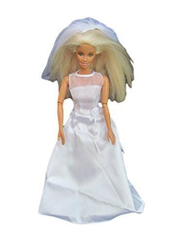 fat-catz-copy-catz Robe de Mariée Traditionelle avec Voile pour poupées Barbie Sindy (Pas Mattel, poupée Non inclue)