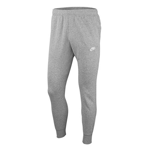 Nike Herren Sportswear Club Fleece Jogginghose, Dark Grey Heather/Matte Silver/White, M