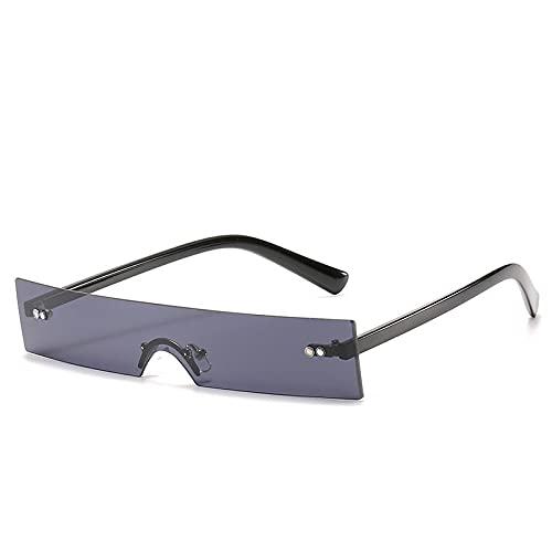 Anti-reflectante Uv400 Rectángulo único Pequeño sin montura Punk Espejo gradiente Gafas de sol para mujer Negro