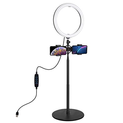 Hanks' shop Led Ring Light 140cm Turn Base Desktop Mount + Resilient Broadcast Dual Phone Bracket + 10.2 Inch 26cm LED Ring Vlogging Video Light Kits With Cold Shoe Tripod Ball Head