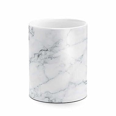 Natural Gray White Marble Stone Print White Heat Resistant Ceramic Tea Coffee Mug - 11oz