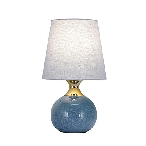 Lámpara de Mesita de Noche Control Tactil Moderna Lampara para Leer Regalo del Dia de la Madre Cuerpo de lámpara de cerámica de Pantalla de Tela Lámpara de Mesa Decorativa cálida,Lichtblauw