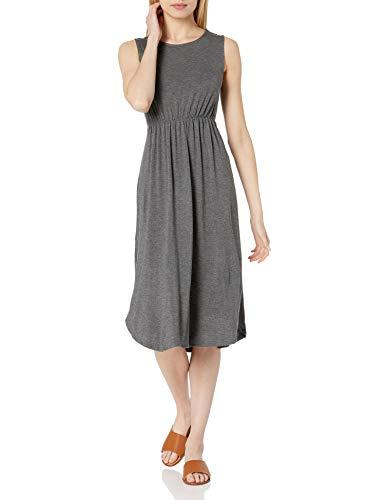 Amazon-Marke: Daily Ritual, Jersey-Damenkleid, ärmellos, gerafft, Charcoal Heather Grey, US XXL (EU 3XL - 4XL)