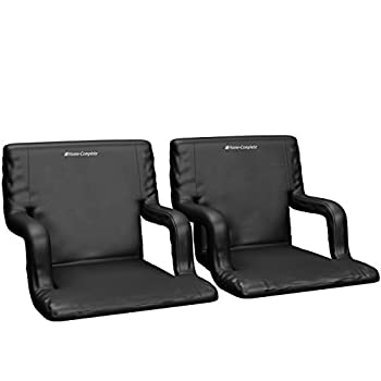 Home-Complete Stadium Seat Chair 2 Pack- Wide Bleacher Cushions with Padded Back Support 6 Reclining Positions Black