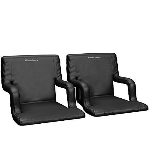 Home-Complete Stadium Seat Chair 2 Pack- Wide Bleacher Cushions with Padded Back Support 6 Reclining Positions, Black